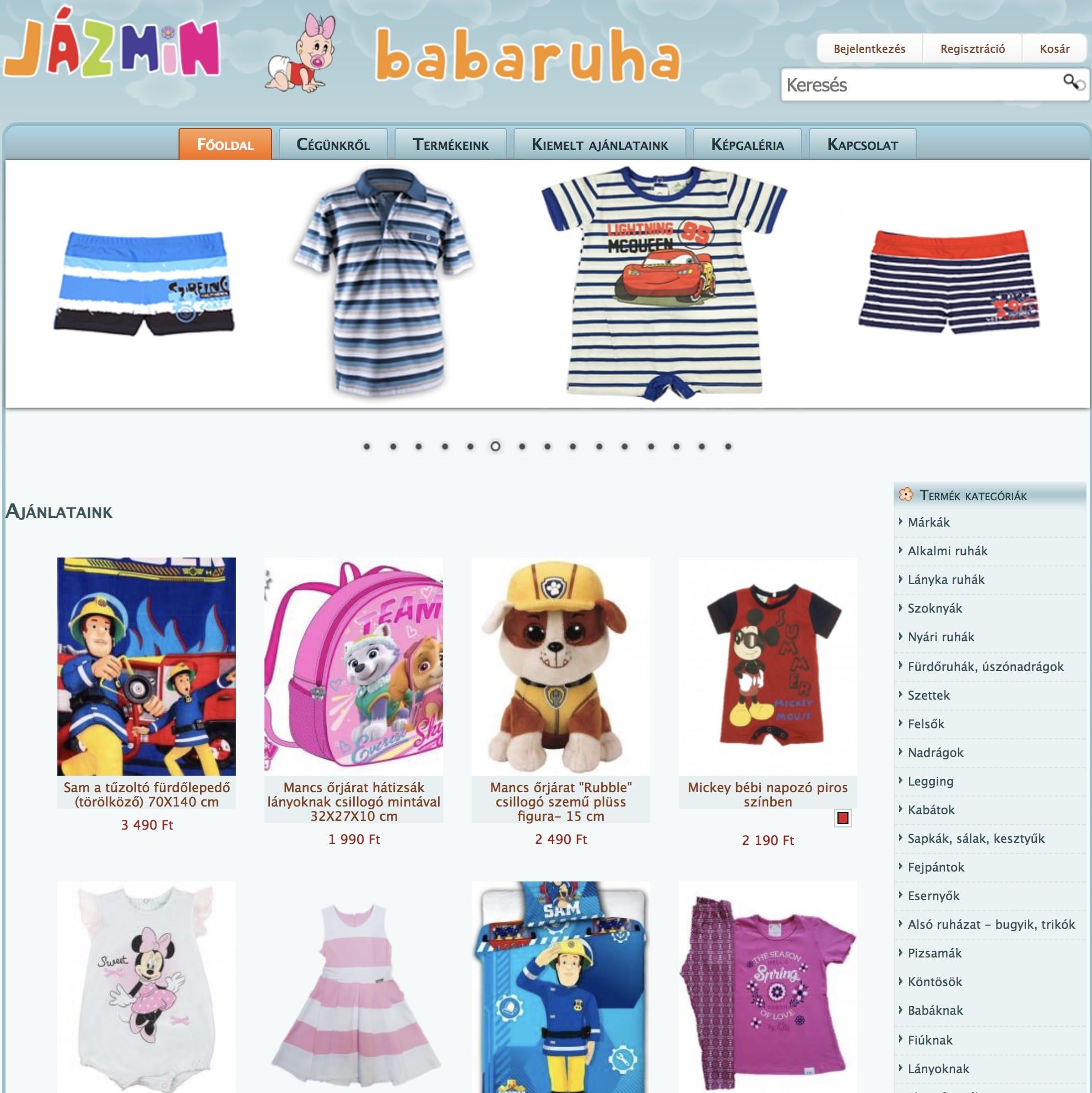 af48111cee Gyermekruhákat forgalmazó Jázmin babaruha webshop üzemeltetője a webáruház  bérlési formát választotta. A forgalmazott termékek megjelenítésénél  elsősorban a ...